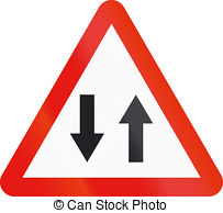 Road sign used in spain traffic in both directions Illustrations.
