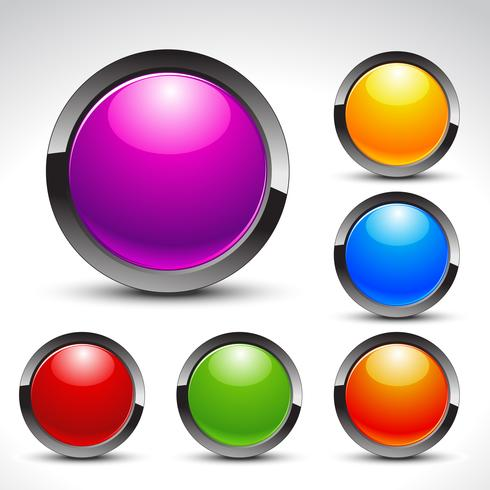 shiny web buttons vector set.