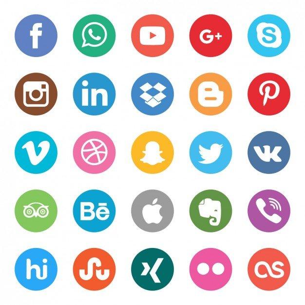Iconos de redes sociales gratis en vector, png y psd. Botones.