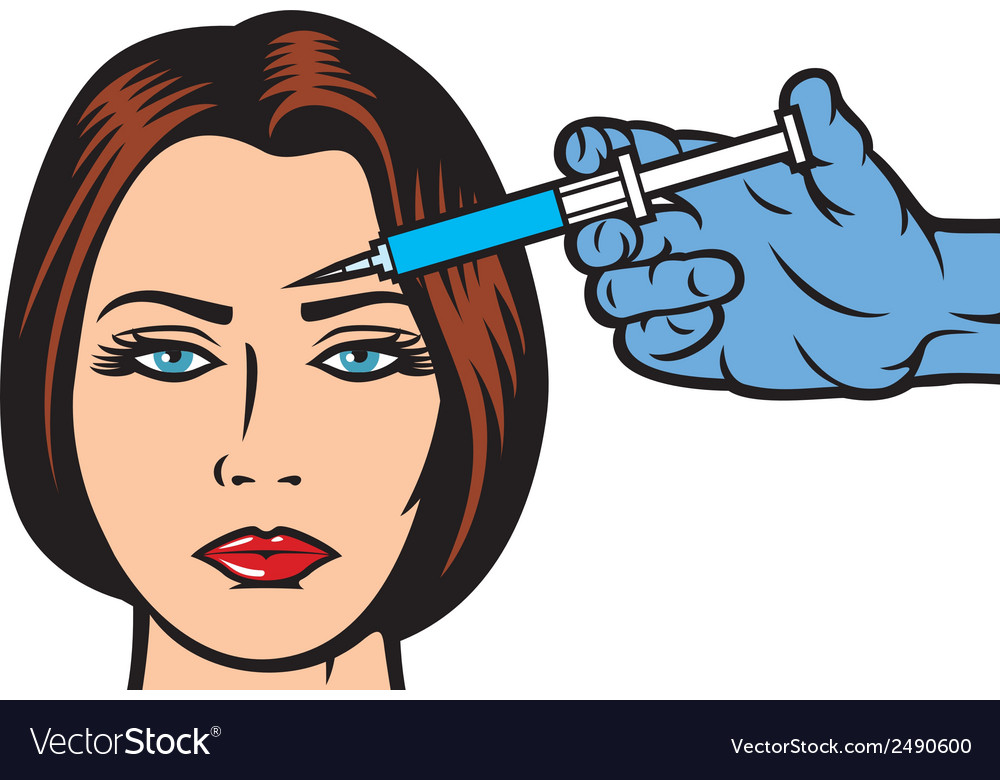 Woman receiving a botox injection in forehead.