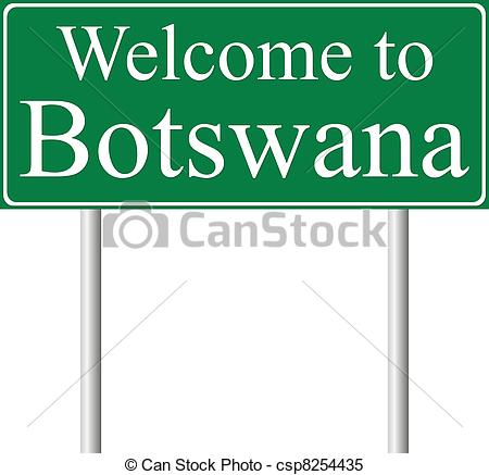 Clipart Vector of Welcome to Botswana, concept road sign isolated.