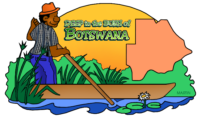 Free Africa Clip Art by Phillip Martin, Botswana Map.