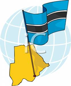 of Botswana With National Flag.