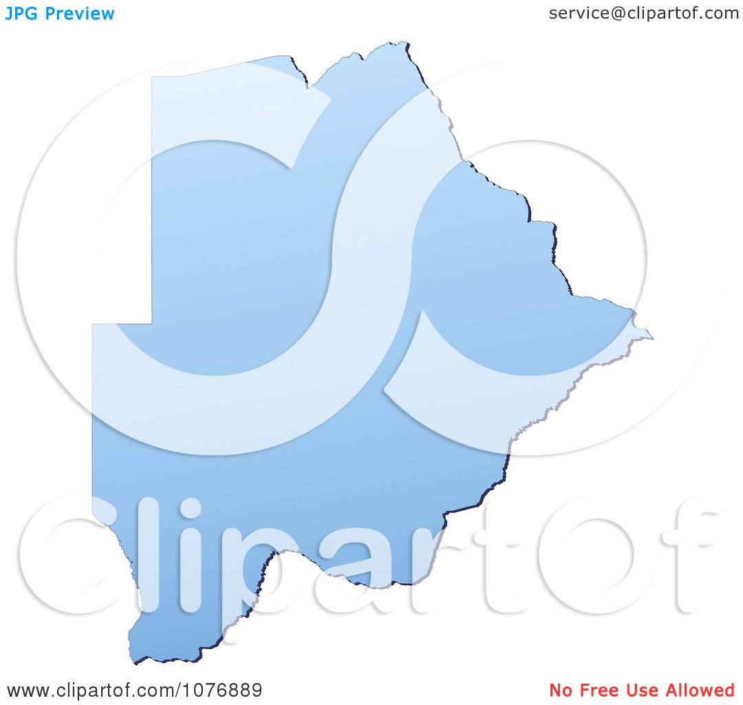 Clipart Gradient Blue Botswana Mercator Projection Map.