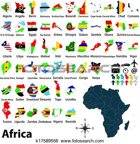Clip Art of Maps with flags of Africa k17589556.