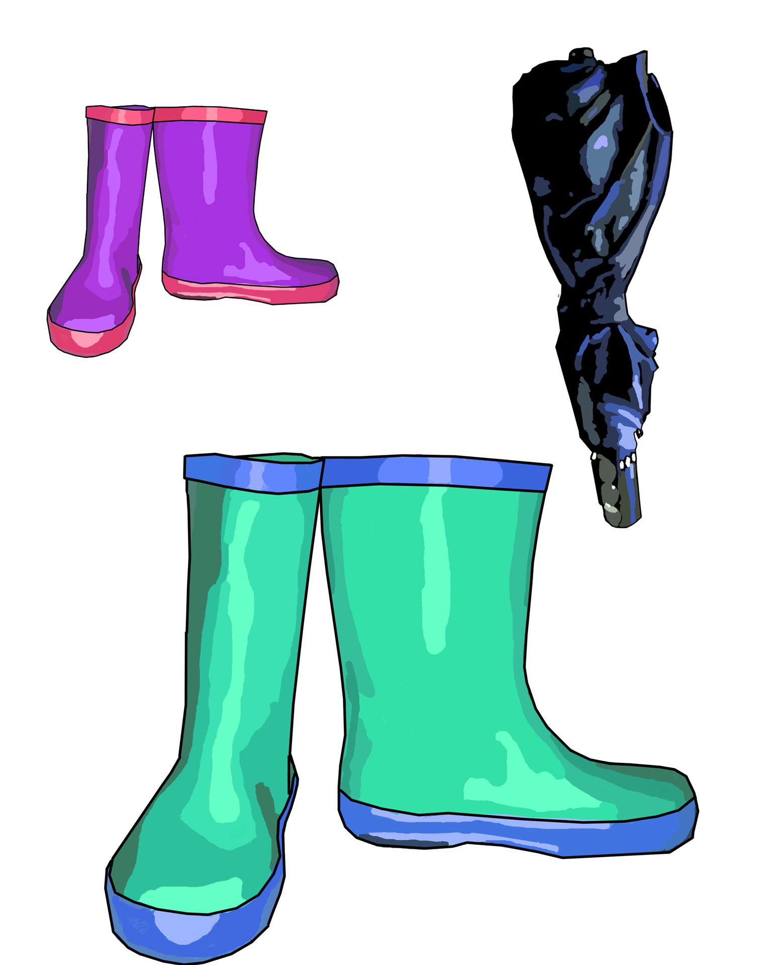 Bottes de pluie et clip art Umbrella Photo stock libre.