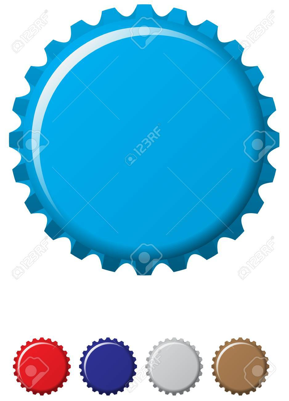 A blue coloured bottle cap with four other colours.