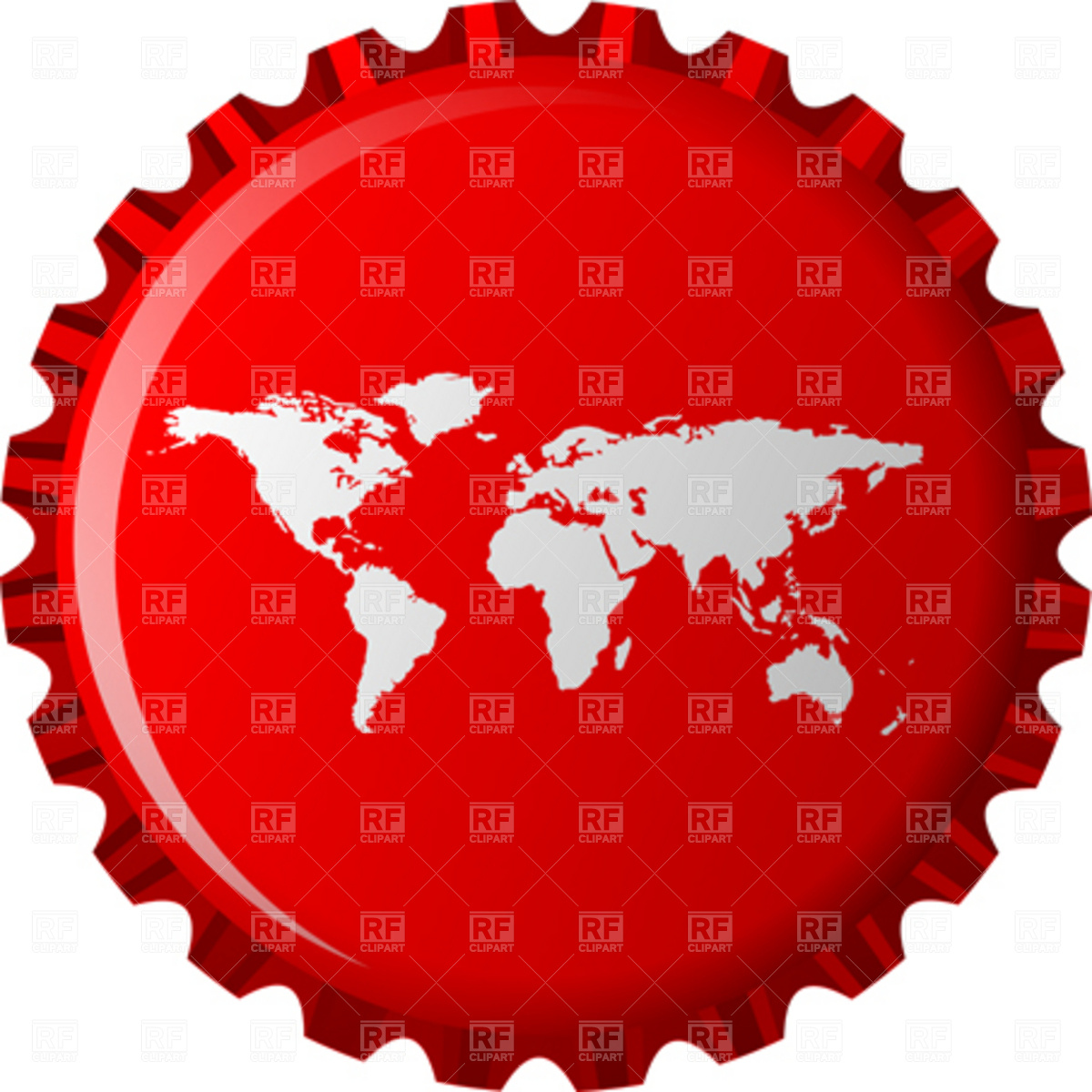 World map on red beer bottle cap Stock Vector Image.