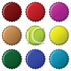 Set of Colorful Bottle Caps.