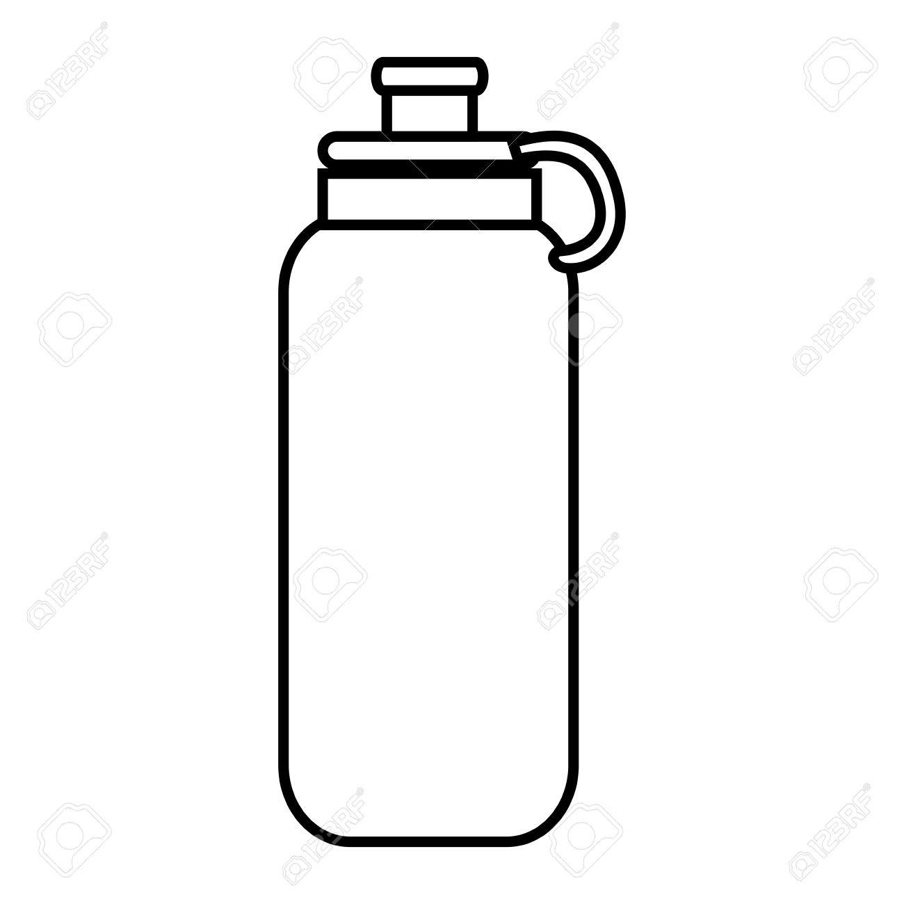Water Bottle Object ,isolated Black And White Flat Icon Design with.