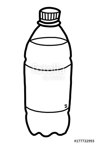 drinking water bottle / cartoon vector and illustration, black and.