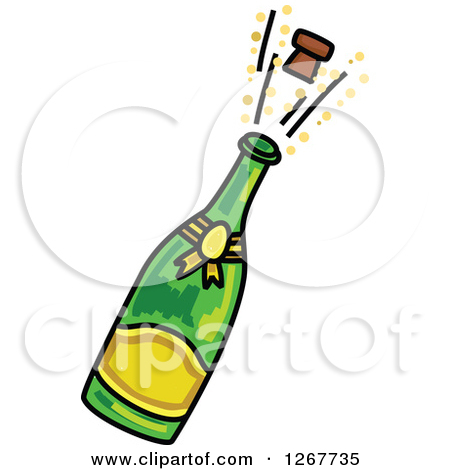 Clipart of a Sketched Champagne Bottle and Popping Cork.