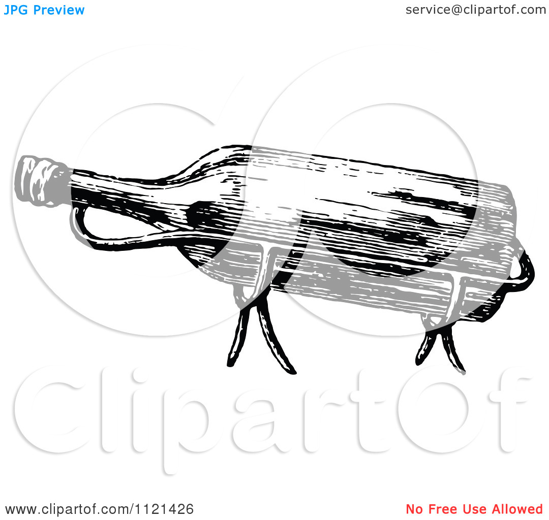 Clipart Of A Retro Vintage Black And White Wine Bottle In A Holder.