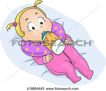Clipart of Baby Girl Milk Bottle Holder k18854443.