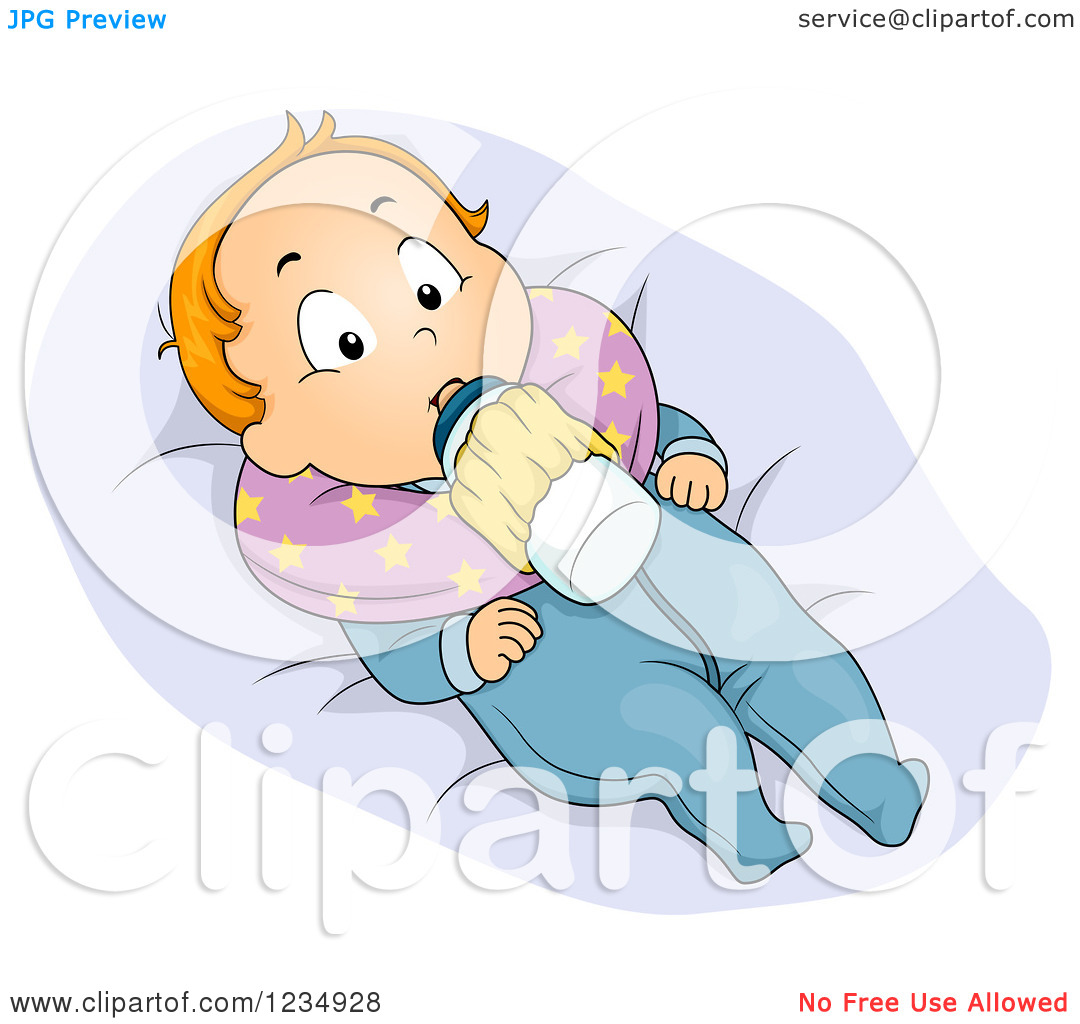 Clipart of a Red Haired Caucasian Boy with a Milk Bottle Holder.
