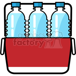 cooler loaded with water bottles icon clipart. Royalty.
