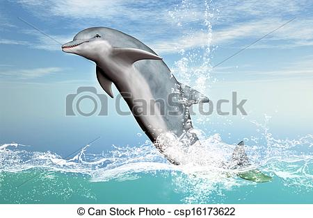 Clip Art of Bottlenose Dolphin Jumping.