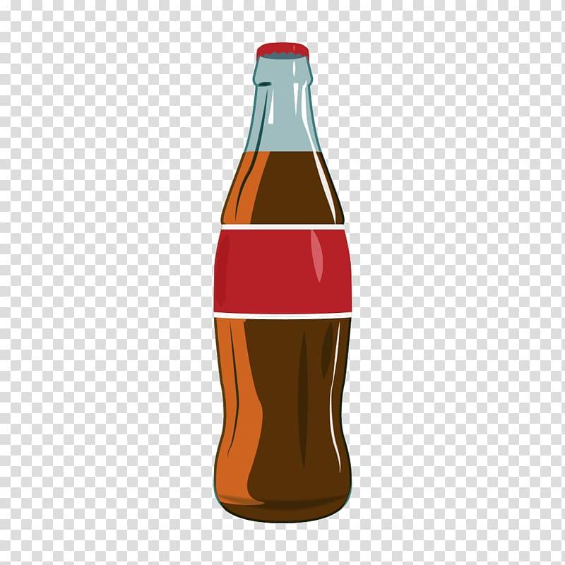 Clear glass soda bottle , Coca.