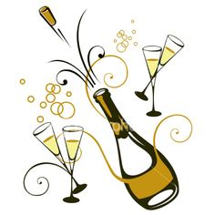 Sparkling wine clipart.
