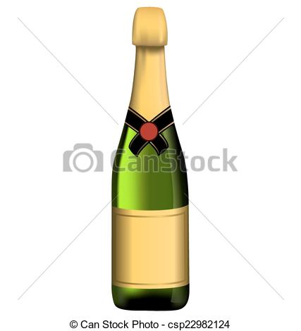 Vector Illustration of Green bottle of sparkling wine isolated on.