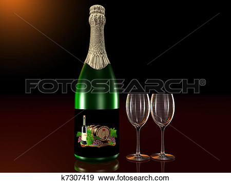 Stock Illustration of Bottle of sparkling wine with glass k7307419.