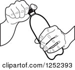 Clipart of a Hand Holding a Blue Water Bottle.