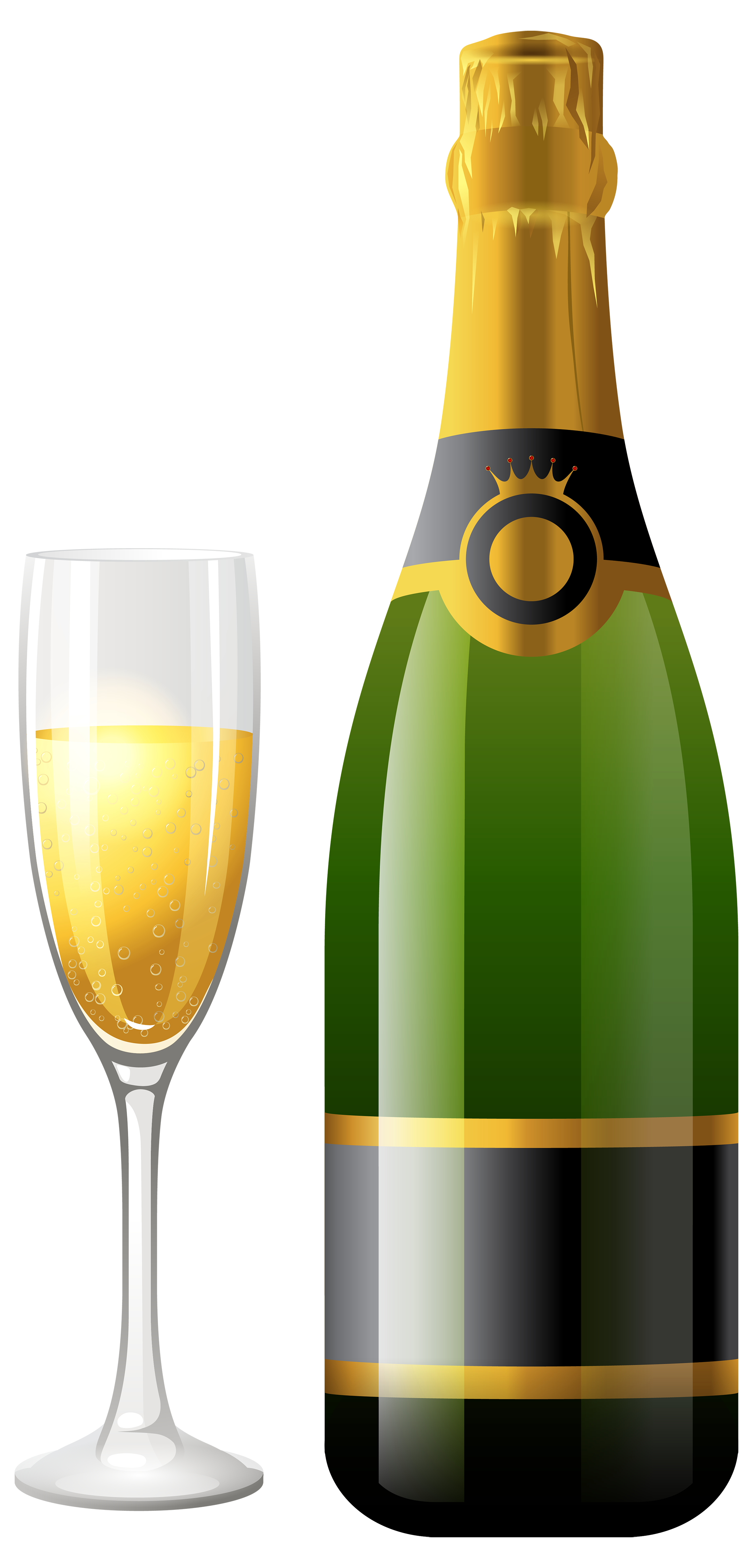 Champagne Bottle with Glass PNG Clipart.