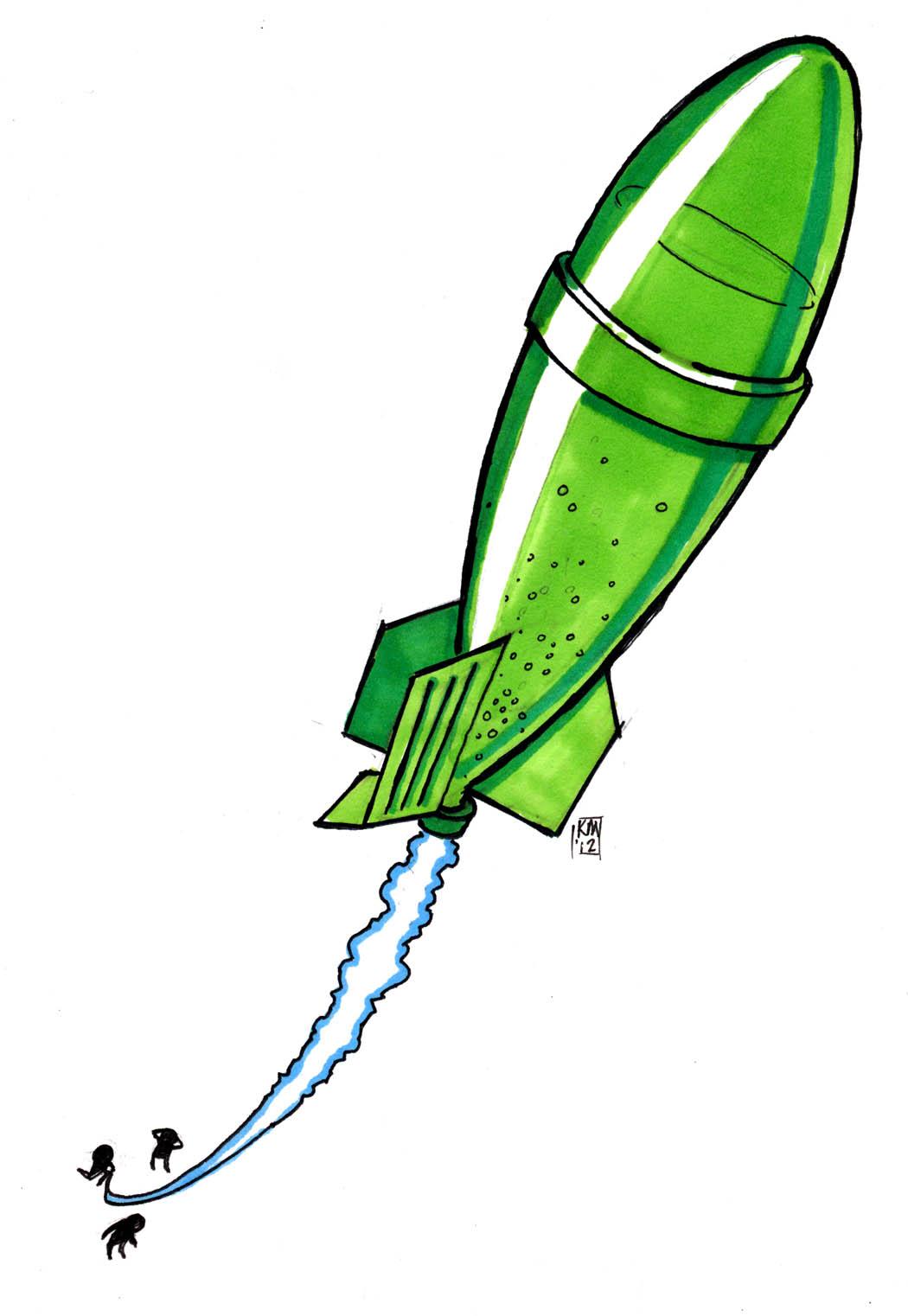Water Bottle Rocket Clip Art free image.
