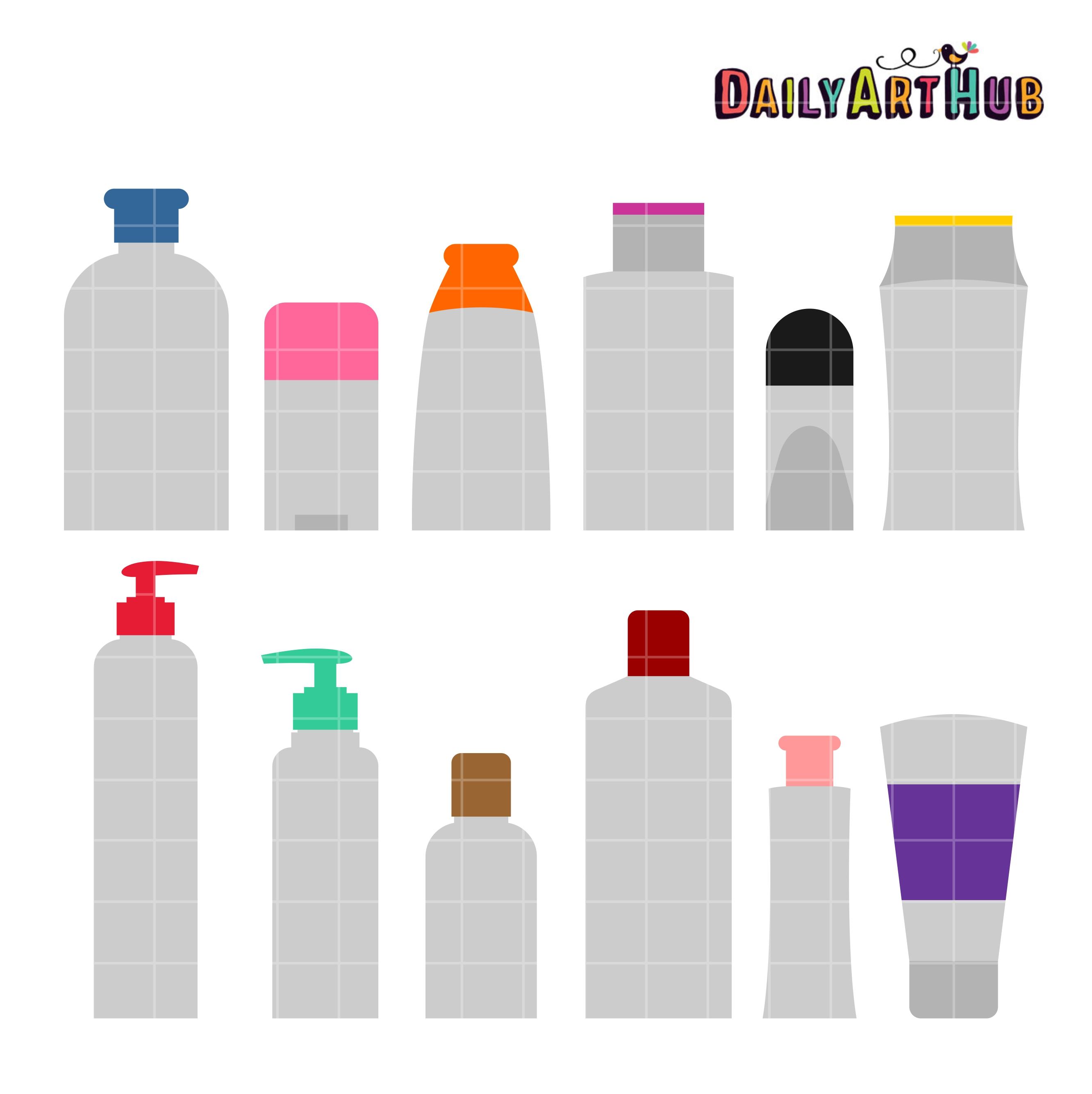 Toiletries Bottle Shapes Clip Art Set.
