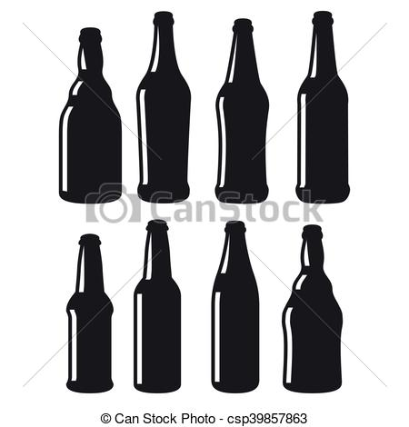 Beer bottles different shapes black vector icons.