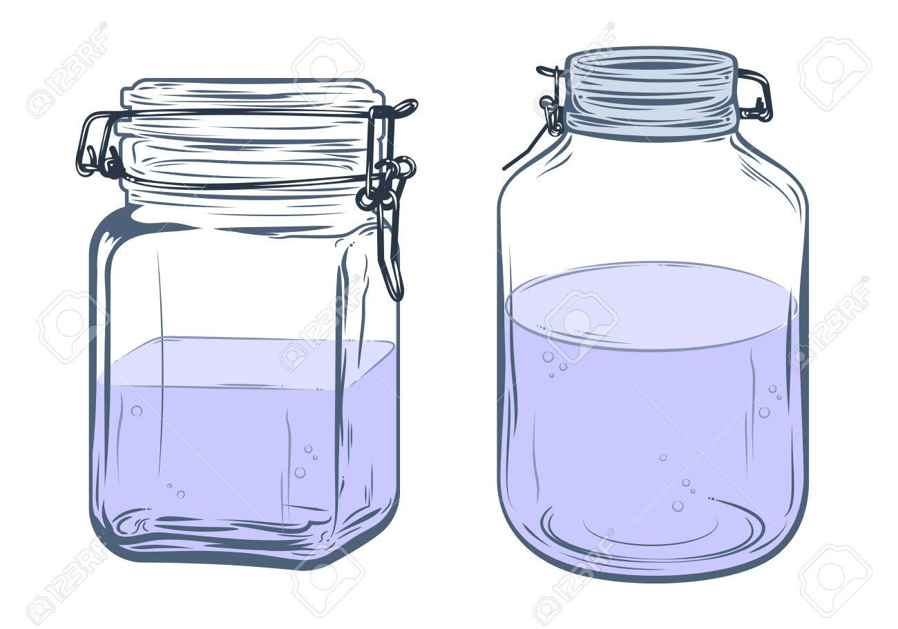Bottles, round and square shapes, freehand drawing.
