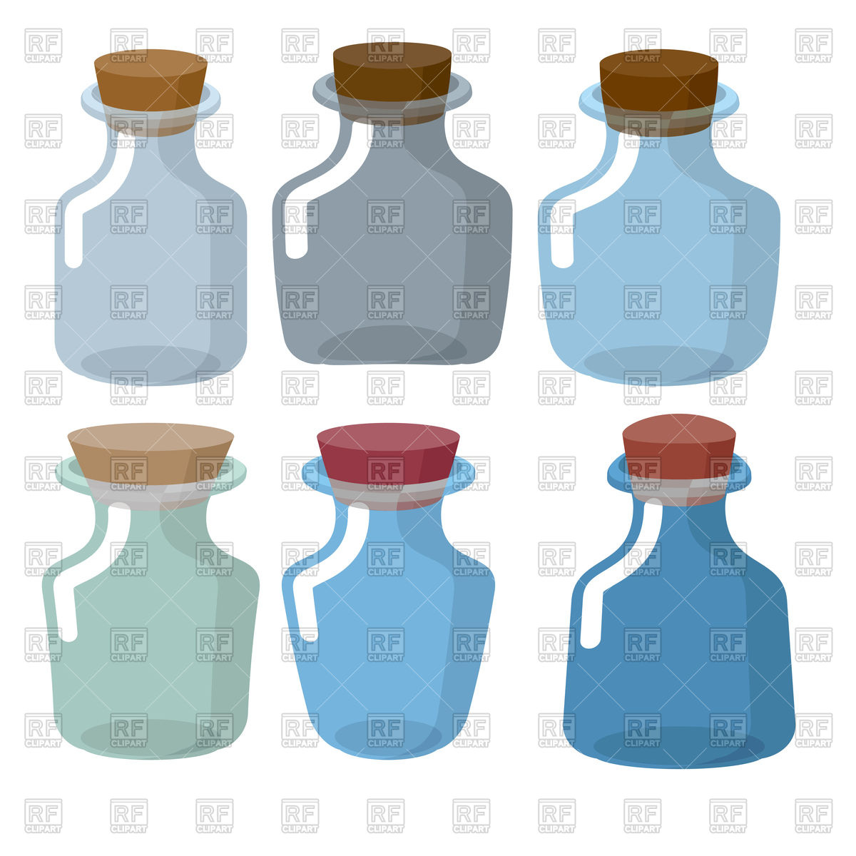 Glass bottles of different shapes with stoppers Stock Vector Image.