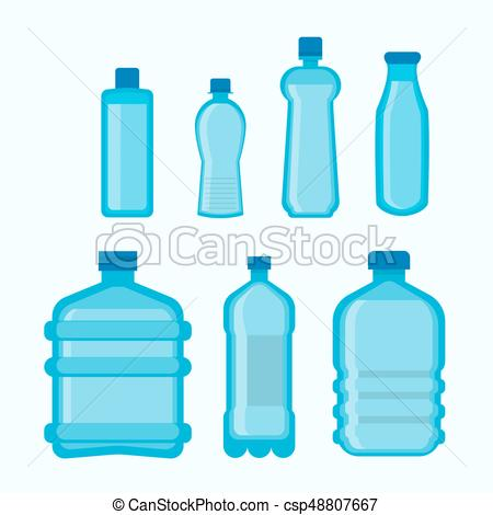 Plastic bottles shapes vector isolated flat icons set.