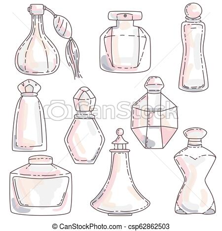 Set of perfume in bottles of different shapes with different colors..