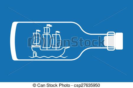 Clipart Vector of Ship in a bottle.