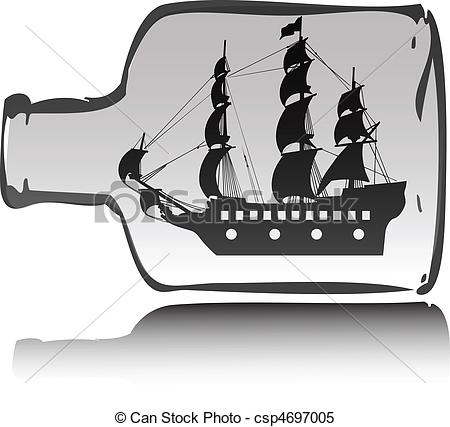 Clipart Vector of boat pirate in bottle illustration csp4697005.
