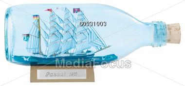 Stock Photo Model Ship In Bottle Clipart.