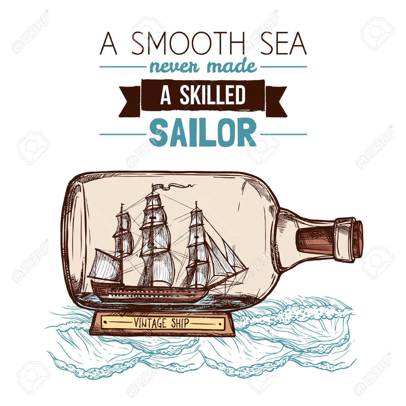 Old Vintage Sailboat Or Ship Model In Glass Bottle With Text.
