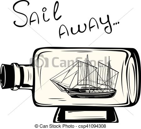 Vector Clipart of Ship in a bottle.
