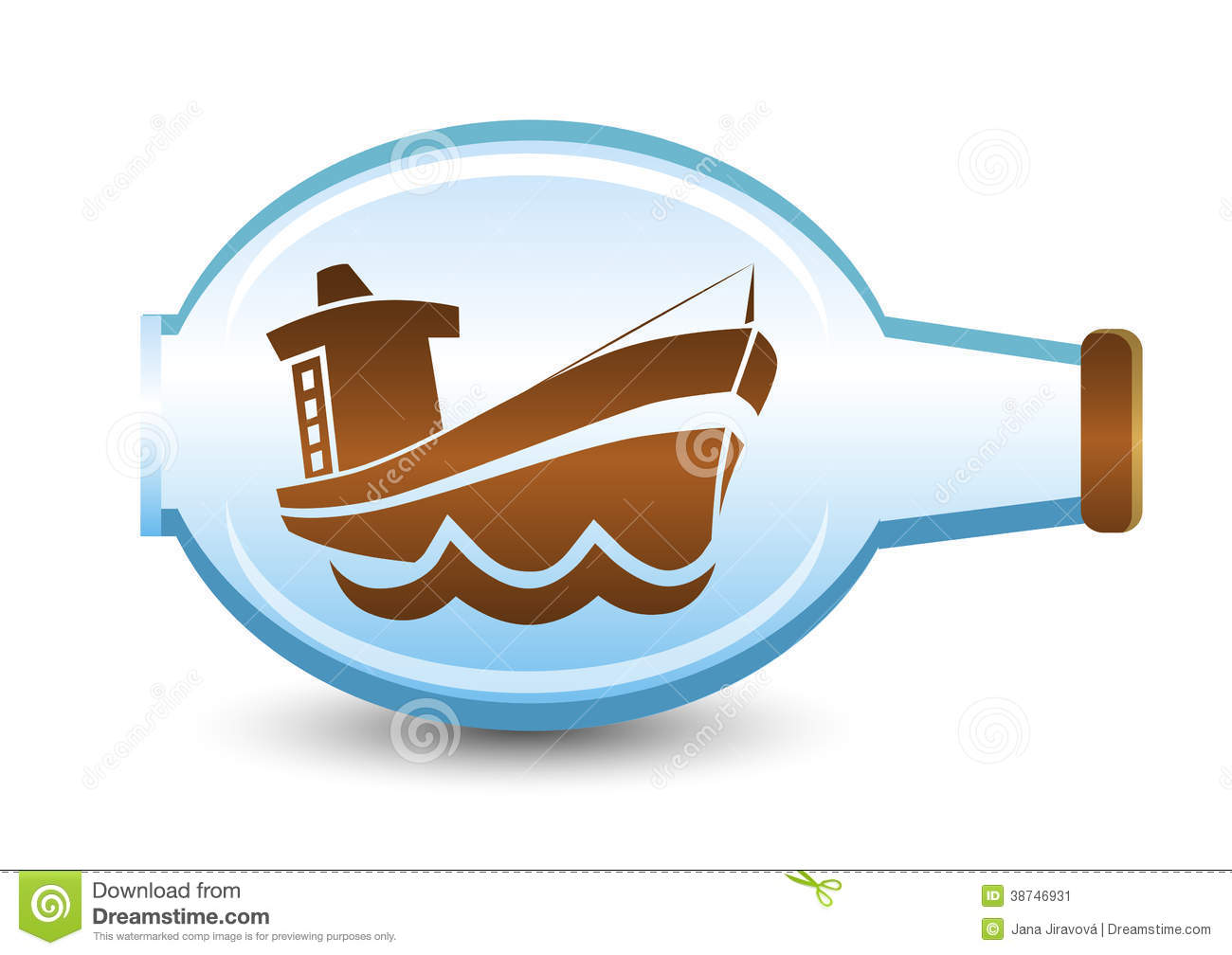 Ship In The Bottle Stock Image.