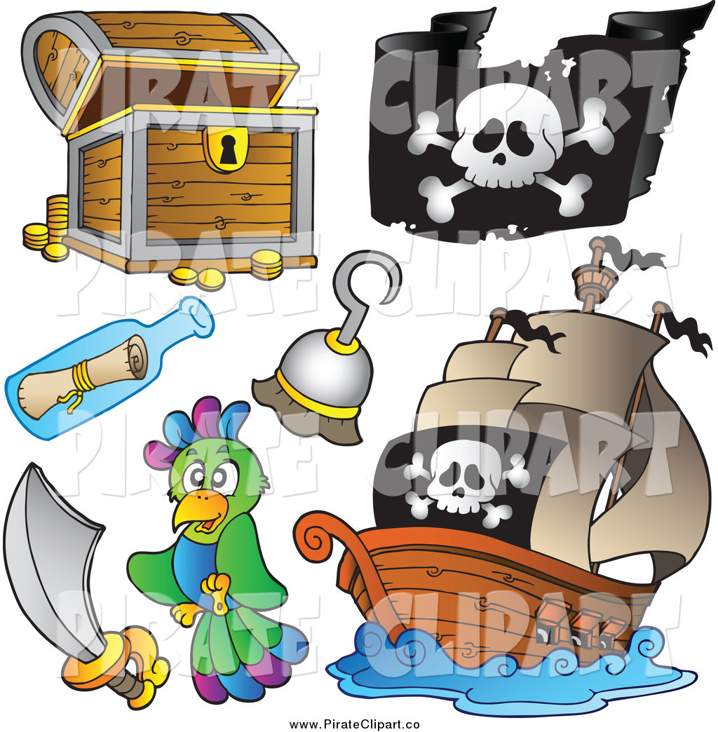 Vector Clip Art of a Treasure Chest, Pirate Flag, Ship, Hook.