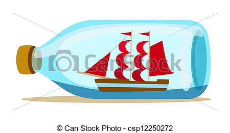 Vectors Illustration of glass bottle with ship inside csp12250272.