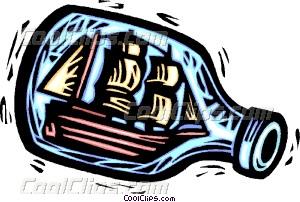 ship in a bottle Vector Clip art.