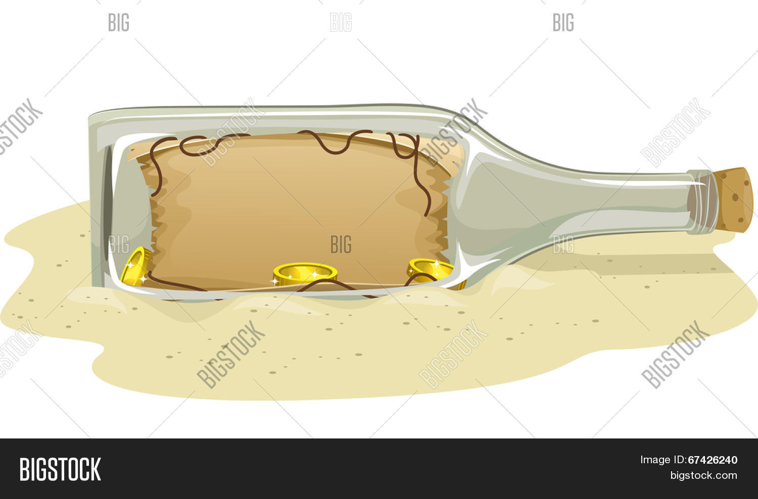 Illustration of a Treasure Map Tucked Inside a Bottle Stock Vector.