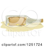 Cartoon of a Treasure Map and Gold Coins in a Bottle.