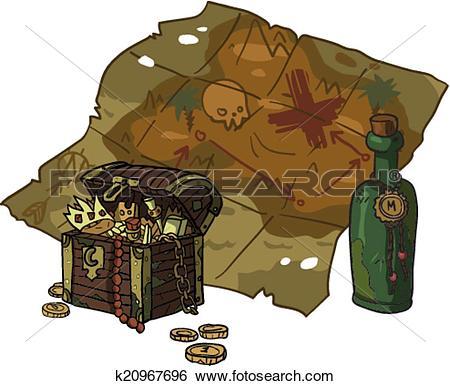 Clip Art of Vector cartoon flat Treasure Map. k20967696.