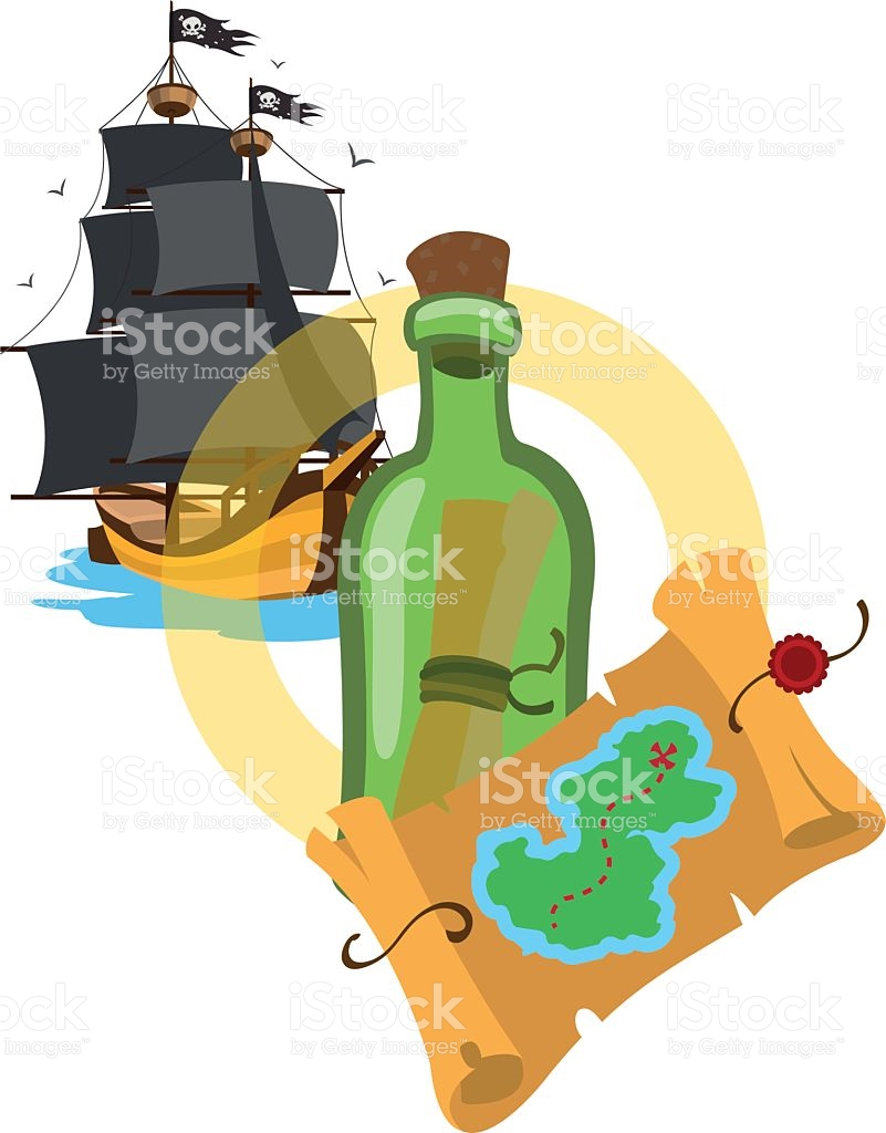 Pirate Ship Treasure Map A Bottle With A Message stock vector art.