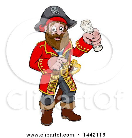 Clipart of a Pirate Treasure Map on a Scroll.