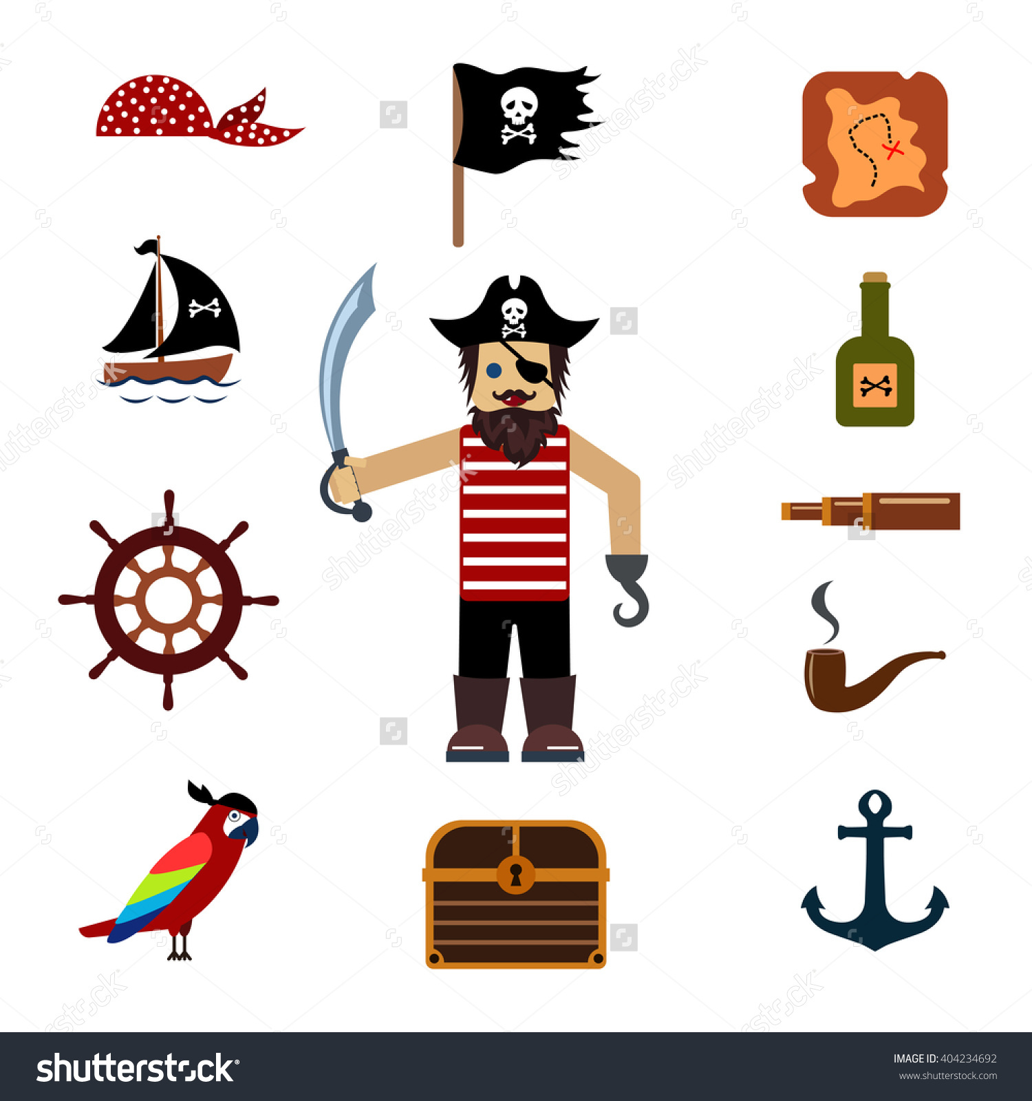 Cute Pirate Objects Collection Set Treasure Stock Vector 404234692.