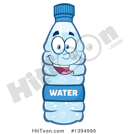 Water Bottle Clipart #1394990: Cartoon Bottled Water Mascot by Hit Toon.